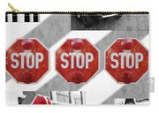 Stop For Students Painterly Bw Red Signs Carry-all Pouch