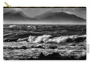 Stormy Coast New Zealand In Black And White Carry-all Pouch