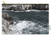 Mediterranean Sea And Rocks Sculpted By Wind And Salt In South Of Menorca Carry-all Pouch