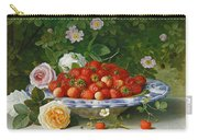 Strawberries In A Blue And White Buckelteller With Roses And Sweet Briar On A Ledge Carry-all Pouch