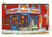 Streets Of Verdun Hockey Game At Famous Verdun Restaurant Pierrette Patates Montreal Hockey Art  Carry-all Pouch