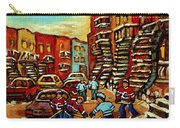 Streets Of Verdun Paintings He Shoots He Scores Our Hockey Town Forever Montreal City Scenes  Carry-all Pouch