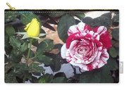Striped Rose And Yellow Carry-all Pouch