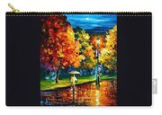 Stroll In The Night - Palette Knife Oil Painting On Canvas By Leonid Afremov Carry-all Pouch