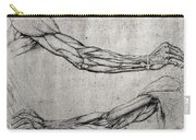 Study Of Arms Carry-all Pouch by Leonardo Da Vinci