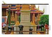Stupa Surrounded By Elephants At Grand Palace Of Thailand In Ban Carry-all Pouch