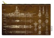 Submarine Blueprint Vintage On Distressed Worn Parchment Carry-all Pouch