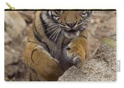 Sumatran Tiger Cub Jumping Onto Rock Carry-all Pouch