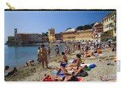 Sun Bathers In Sestri Levante In The Italian Riviera In Liguria Italy Carry-all Pouch by David Smith