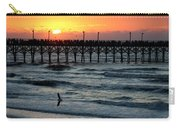 Sun Over Pier And Bird In Surf Carry-all Pouch