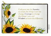 Sunflowers And Serenity Prayer Carry-all Pouch by Barbara Griffin