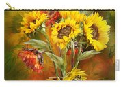 Sunflowers In Sunflower Vase Carry-all Pouch by Carol Cavalaris