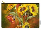 Sunflowers In Sunflower Vase - Square Carry-all Pouch by Carol Cavalaris