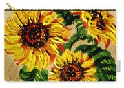 Sunflowers On Wooden Board Carry-all Pouch
