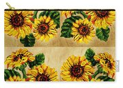 Sunflowers Pattern Country Field On Wooden Board Carry-all Pouch