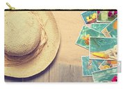Sunhat And Postcards Carry-all Pouch by Amanda Elwell