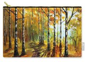 Sunny Birches - Palette Knife Oil Painting On Canvas By Leonid Afremov Carry-all Pouch