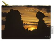 Sunrise Arches National Park With Balanced Rock Silhouetted Agai Carry-all Pouch