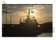 Sunrise At The Naval Base Silhouette Erie Basin Marina V1 Carry-all Pouch
