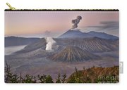 sunrise at vulcano Bromo with sea of sand vulcano Semeru with eruption Java Indonesia Carry-all Pouch