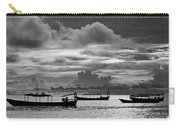 Sunset Over The Gulf Of Thailand Black And White Carry-all Pouch