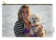 Sunset With Young American Woman And Poodle Carry-all Pouch