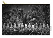 Surf Board Fence Maui Hawaii Black And White Carry-all Pouch by Edward Fielding
