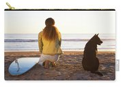 Surfer Woman And Dog On Beach Carry-all Pouch