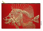 Surgeonfish Skeleton In Gold On Red  Carry-all Pouch
