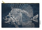 Surgeonfish Skeleton In Silver On Blue  Carry-all Pouch