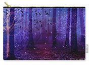 Surreal Fantasy Starry Night Purple Woodlands - Purple Blue Fantasy Nature Fairy Lights  Carry-all Pouch