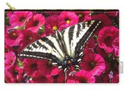 Swallowtail Butterfly Full Span On Fuchsia Flowers Carry-all Pouch