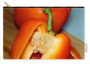 Sweet Orange Peppers On Bamboo Cutting Board Carry-all Pouch