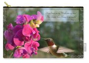 Sweet Pea Hummingbird Iv With Verse Carry-all Pouch by Debbie Portwood