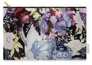 Sweet Peas In A Blue And White Jug With Blue And White Pot And Textiles  Carry-all Pouch