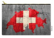 Switzerland Flag Country Outline Painted On Old Cracked Cement Carry-all Pouch