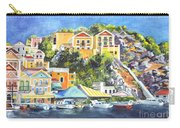 Symi Harbor The Grecian Isle  Carry-all Pouch by Carol Wisniewski
