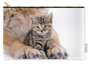 Tabby Kitten Between Large Dogs Paws Carry-all Pouch