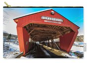 Taftsville Covered Bridge In Vermont In Winter Carry-all Pouch by Edward Fielding