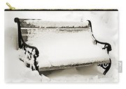 Take A Seat  And Chill Out - Park Bench - Winter - Snow Storm Bw 2 Carry-all Pouch