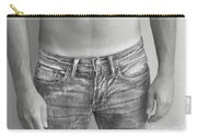 Tanline In Jeans Black And White Carry-all Pouch