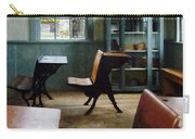 Teacher - One Room Schoolhouse With Clock Carry-all Pouch by Susan Savad