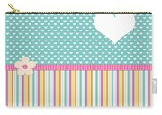 Teal Polka Heart Carry-all Pouch