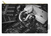 Technology - Motherboard In Black And White Carry-all Pouch by Paul Ward