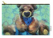 Teddy Bear In Blue Carry-all Pouch