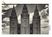 Temple Square Black And White Carry-all Pouch
