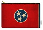 Tennessee State Flag Art On Worn Canvas Carry-all Pouch