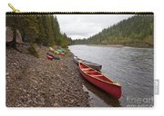 Tents And Canoes At Mcquesten River Yukon Canada Carry-all Pouch