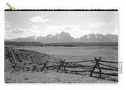 Teton Landscape With Fence - Black And White Carry-all Pouch