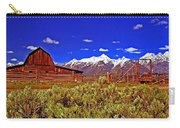 Tetons - Gambrel Barn And Fence Panorama Carry-all Pouch